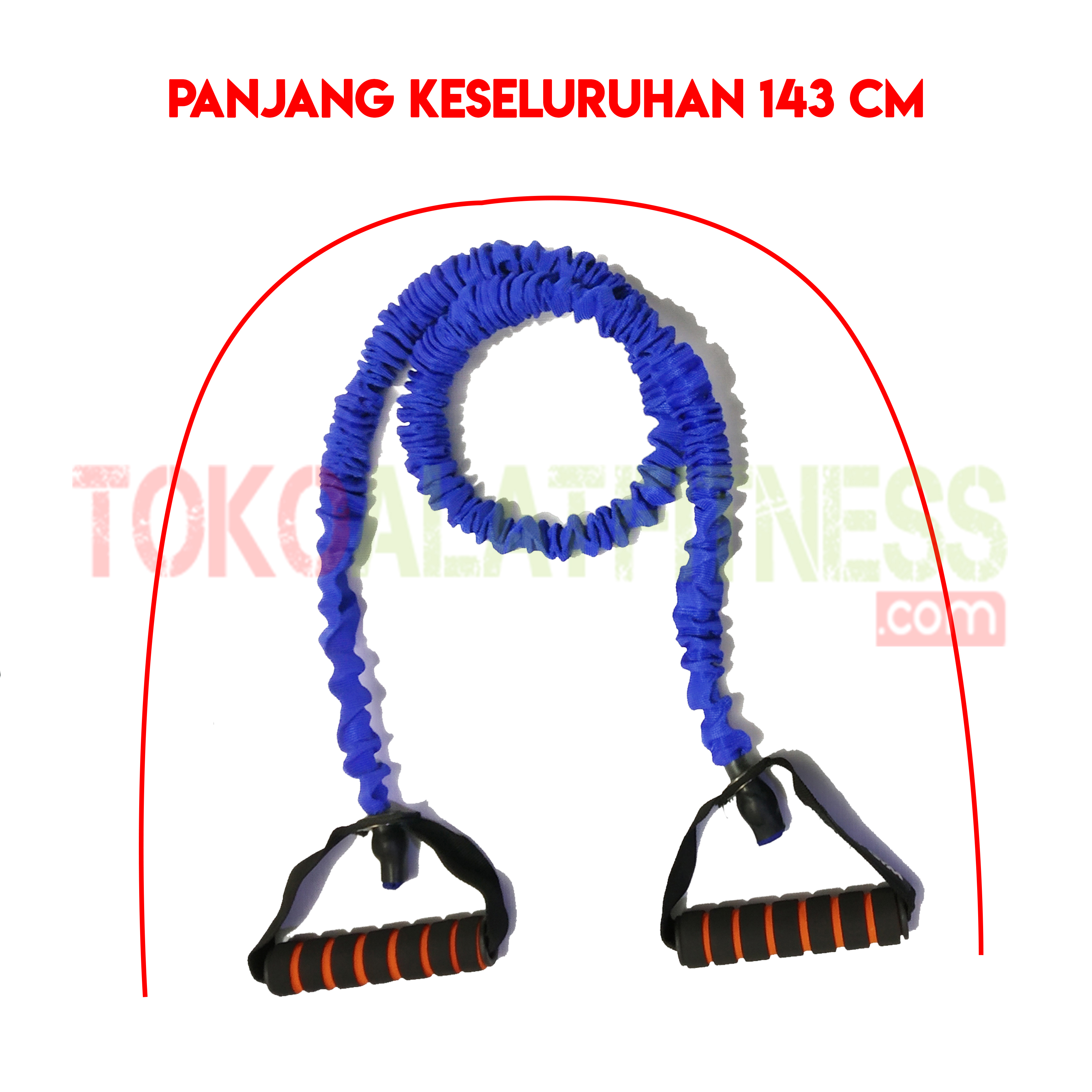 PALL ROPE BIRU SPEK WTM - Resistance Band / Strap with Handle Biru 25 Lbs Body Gym - ASSRB18B