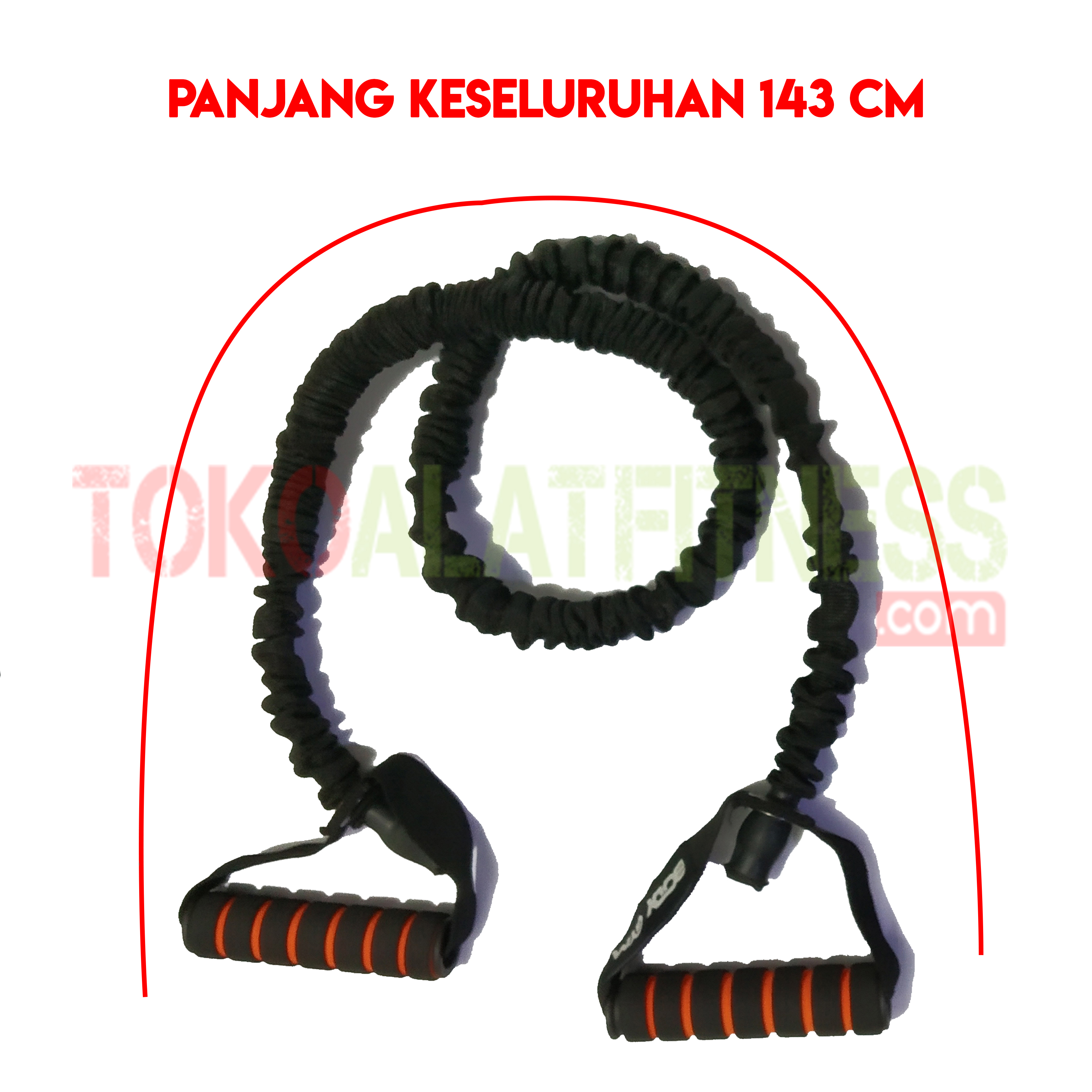PALL ROPE HITAM SPEK WTM - Resistance Band / Strap with Handle Hitam 35 Lbs Body Gym
