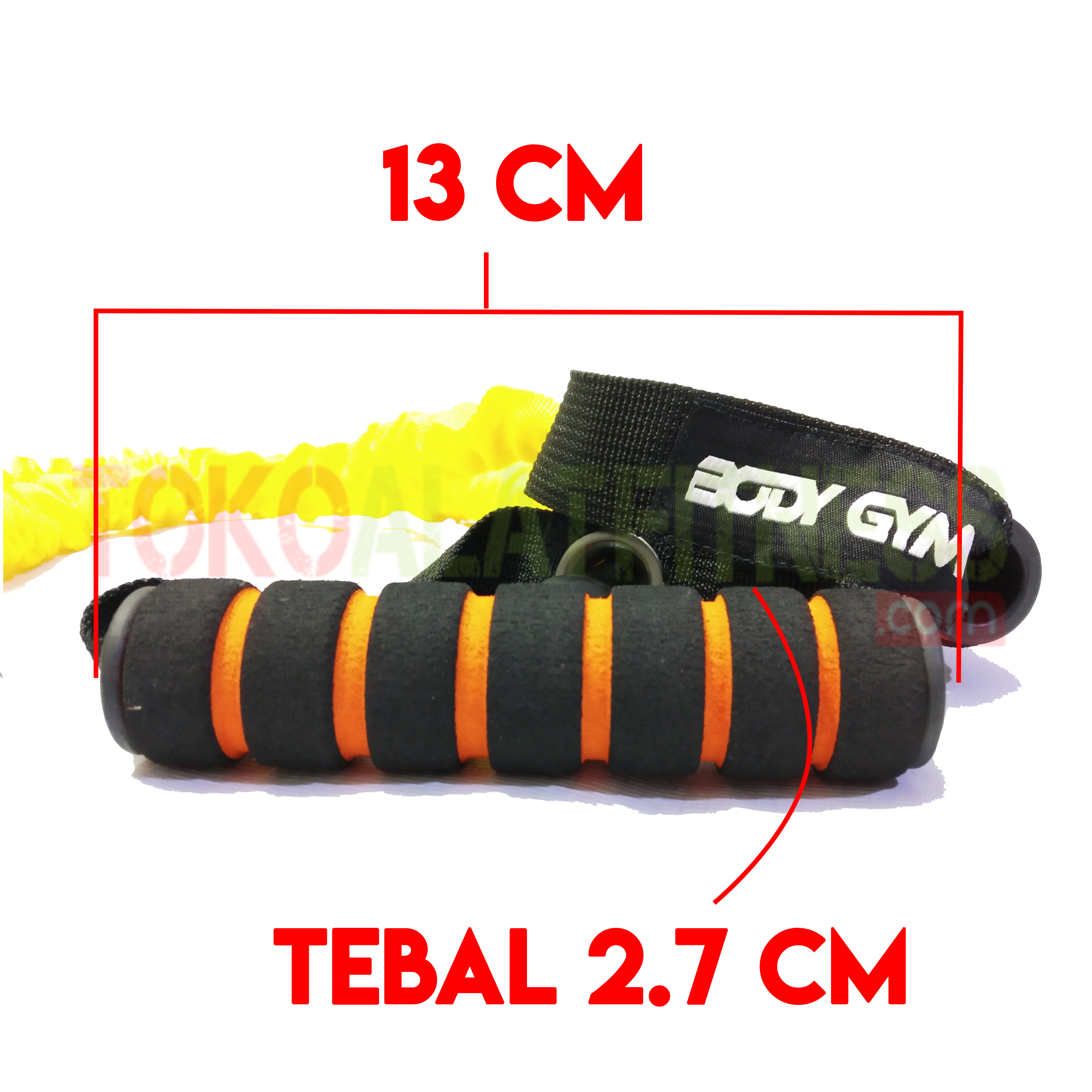 PALL ROPE KUNING SPEK 2 WTM - Resistance Band / Strap with Handle Kuning 15 Lbs Body Gym - ASSRB18
