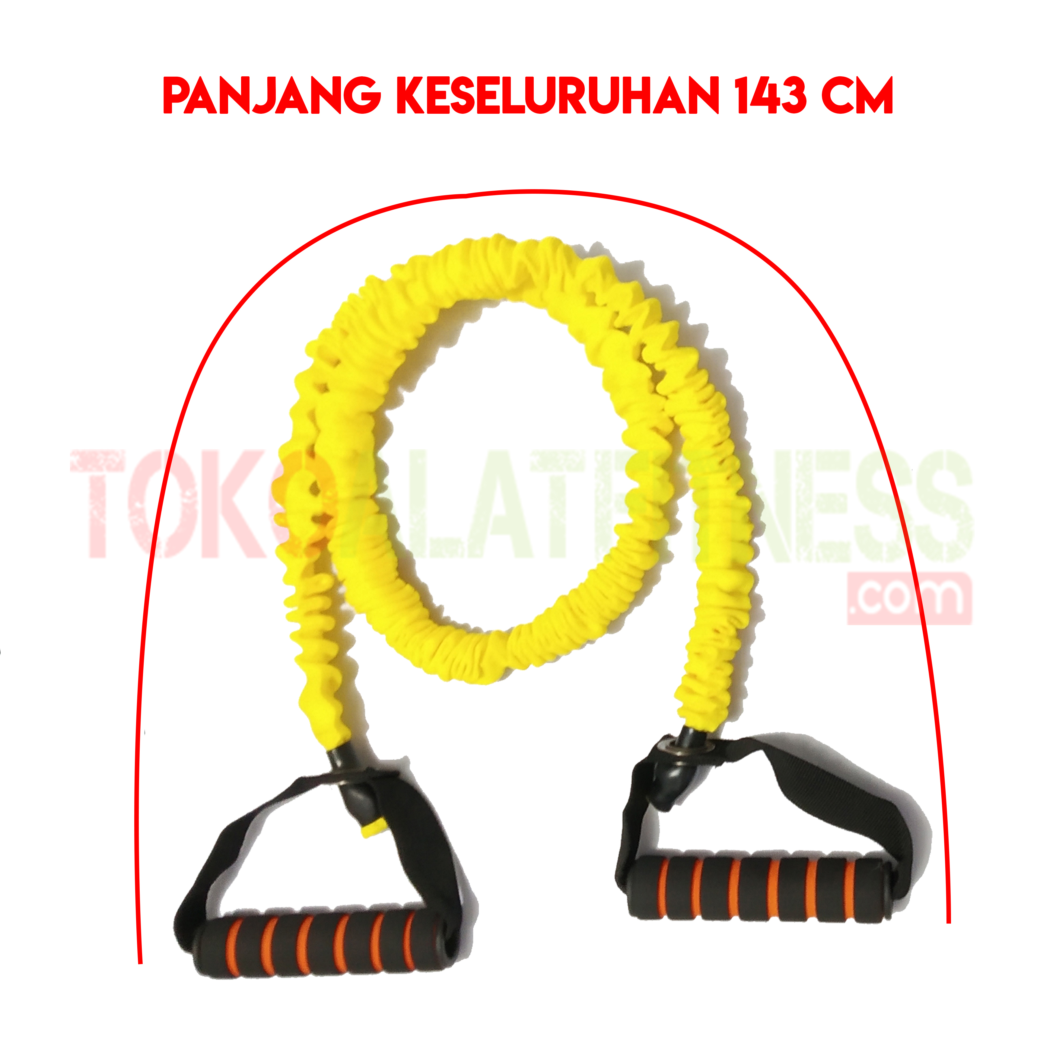 PALL ROPE KUNING SPEK WTM - Resistance Band / Strap with Handle Kuning 15 Lbs Body Gym - ASSRB18