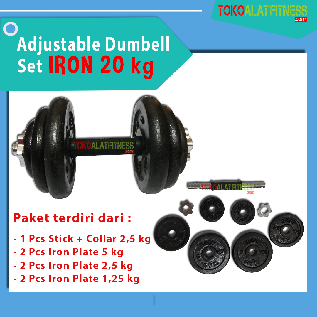 BANNER DUMBELL IRON 20 KG - Adjustable Dumbell Set Iron 20 kg Body Gym