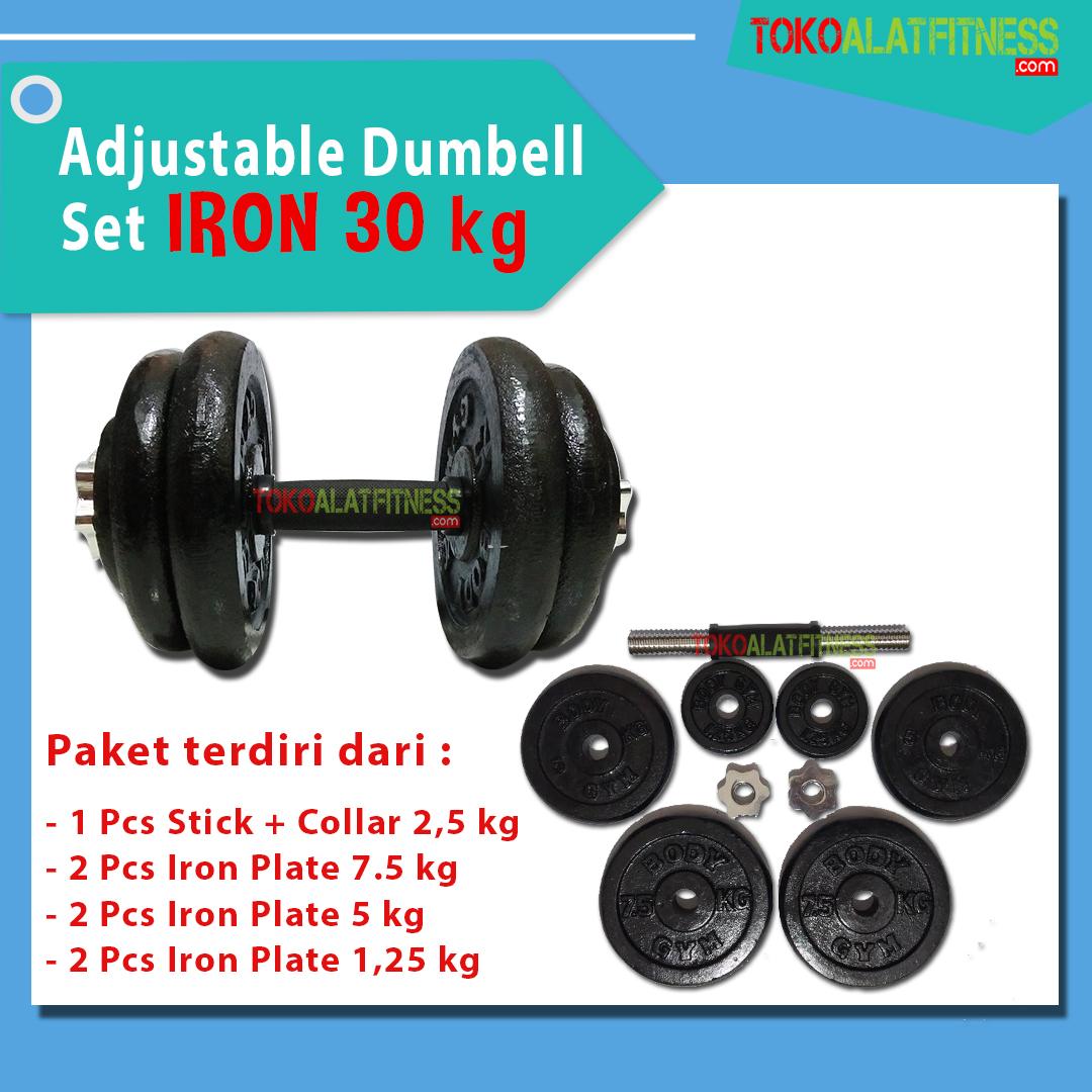 BANNER DUMBELL IRON 30 KG - Adjustable Dumbell Set Iron 30 kg Body Gym