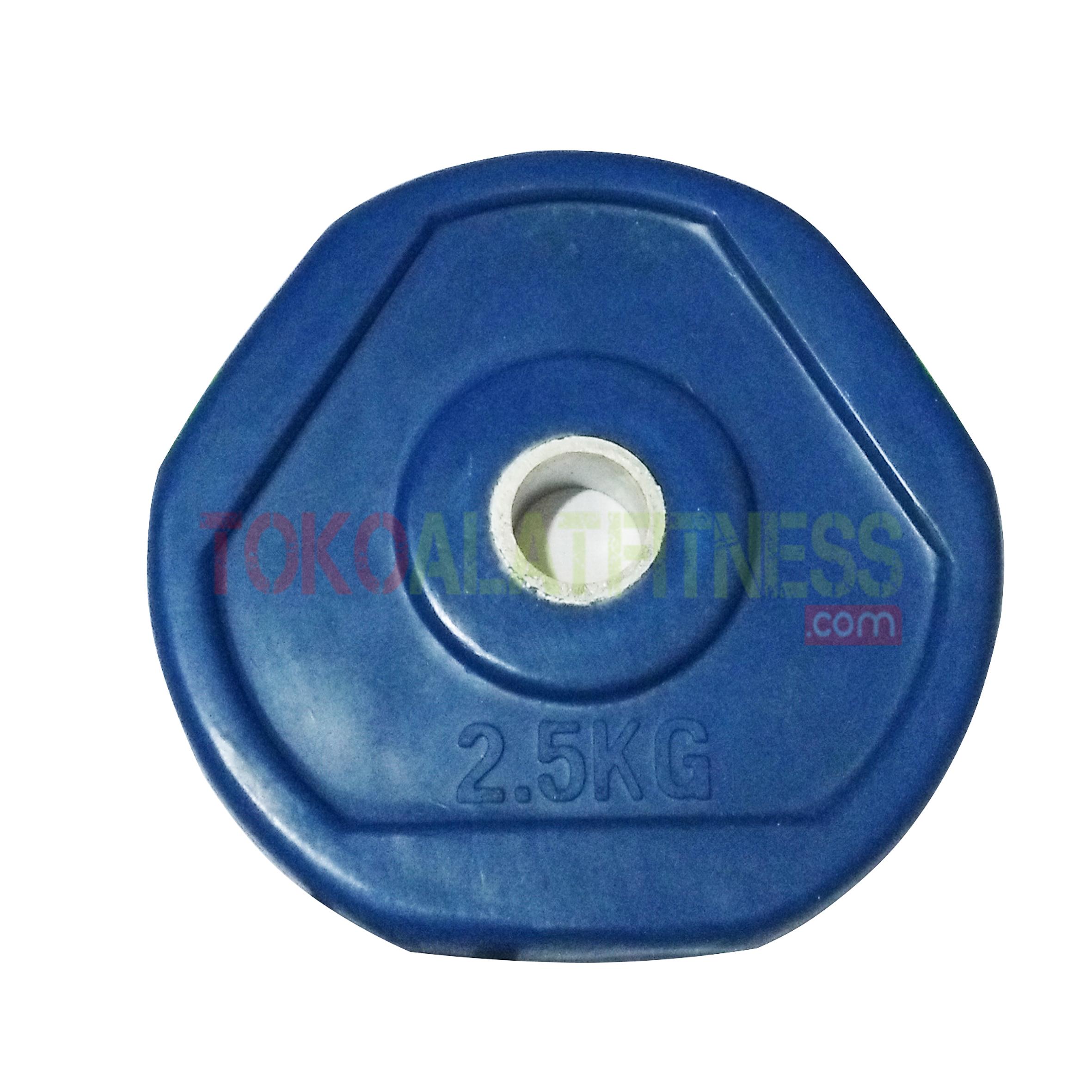 rubber plate biru 25 kg wtm - Rubber Plate Grip Warna 3cm Biru 2.5kg Body Gym