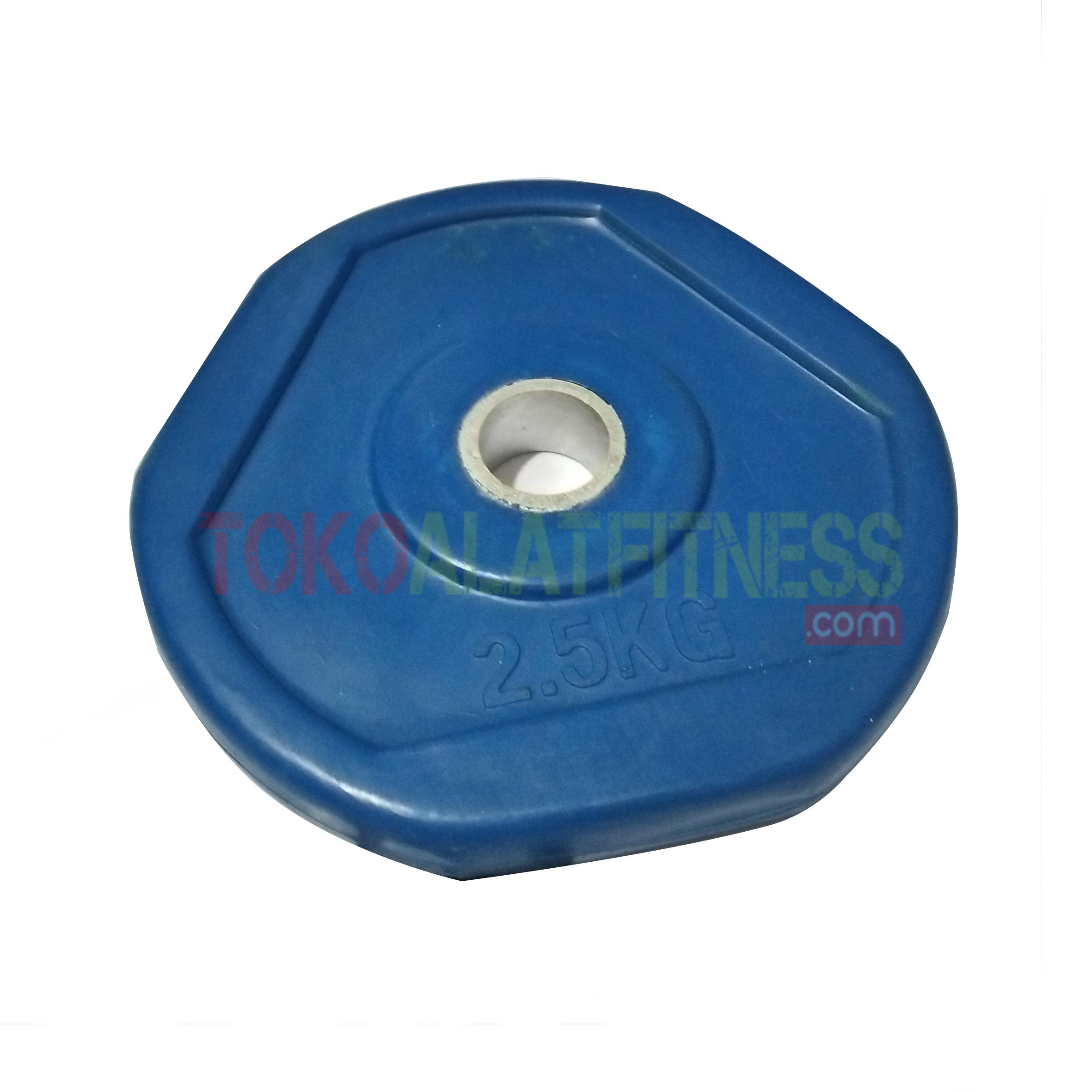 rubber plate biru 25 kg - Rubber Plate Grip Warna 3cm Biru 2.5kg Body Gym