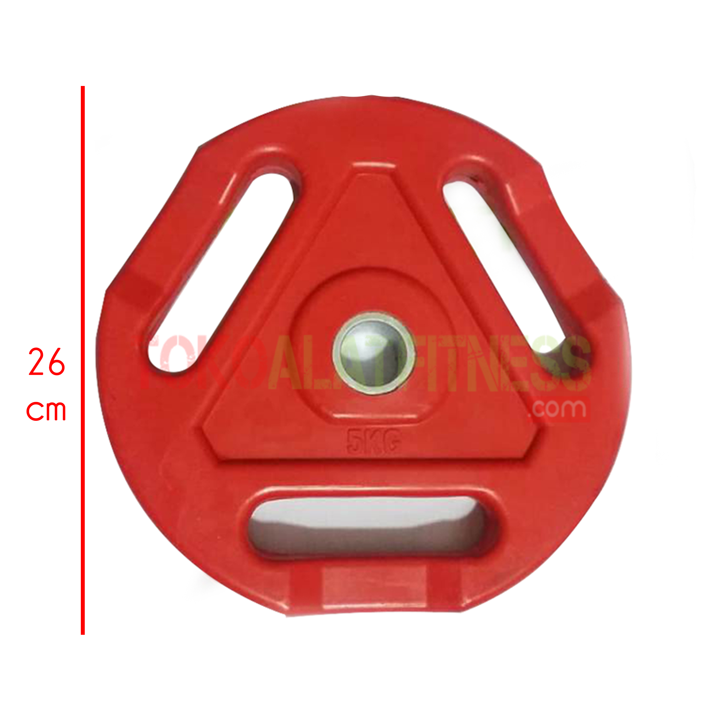 spek Plate Rubber 5 kg wtm - Rubber Plate Grip Warna 3cm Merah 5kg Body Gym