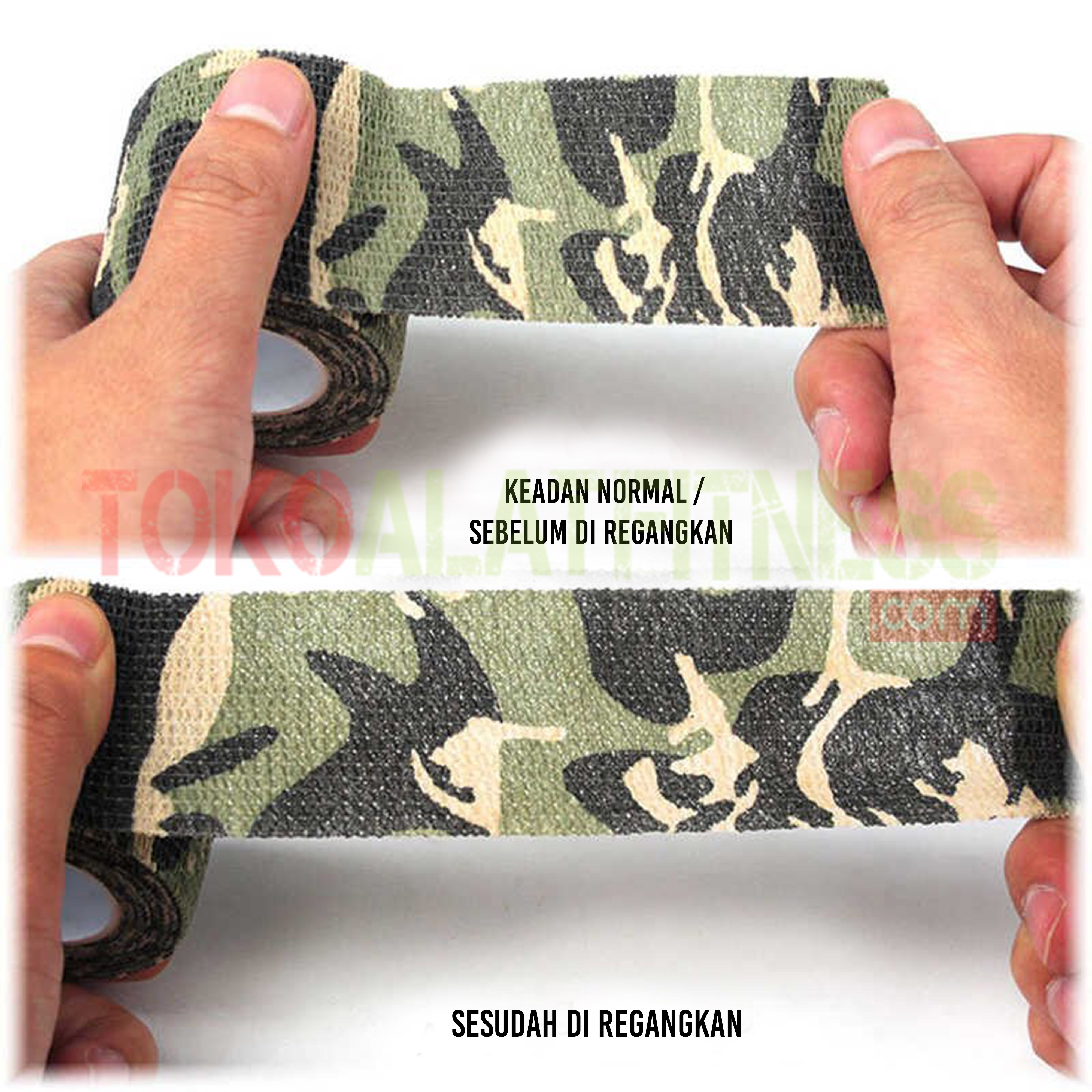 detail Came Tape 1 - Roll Cotton Elastic Tape Hijau Army Body Gym - ASSW78