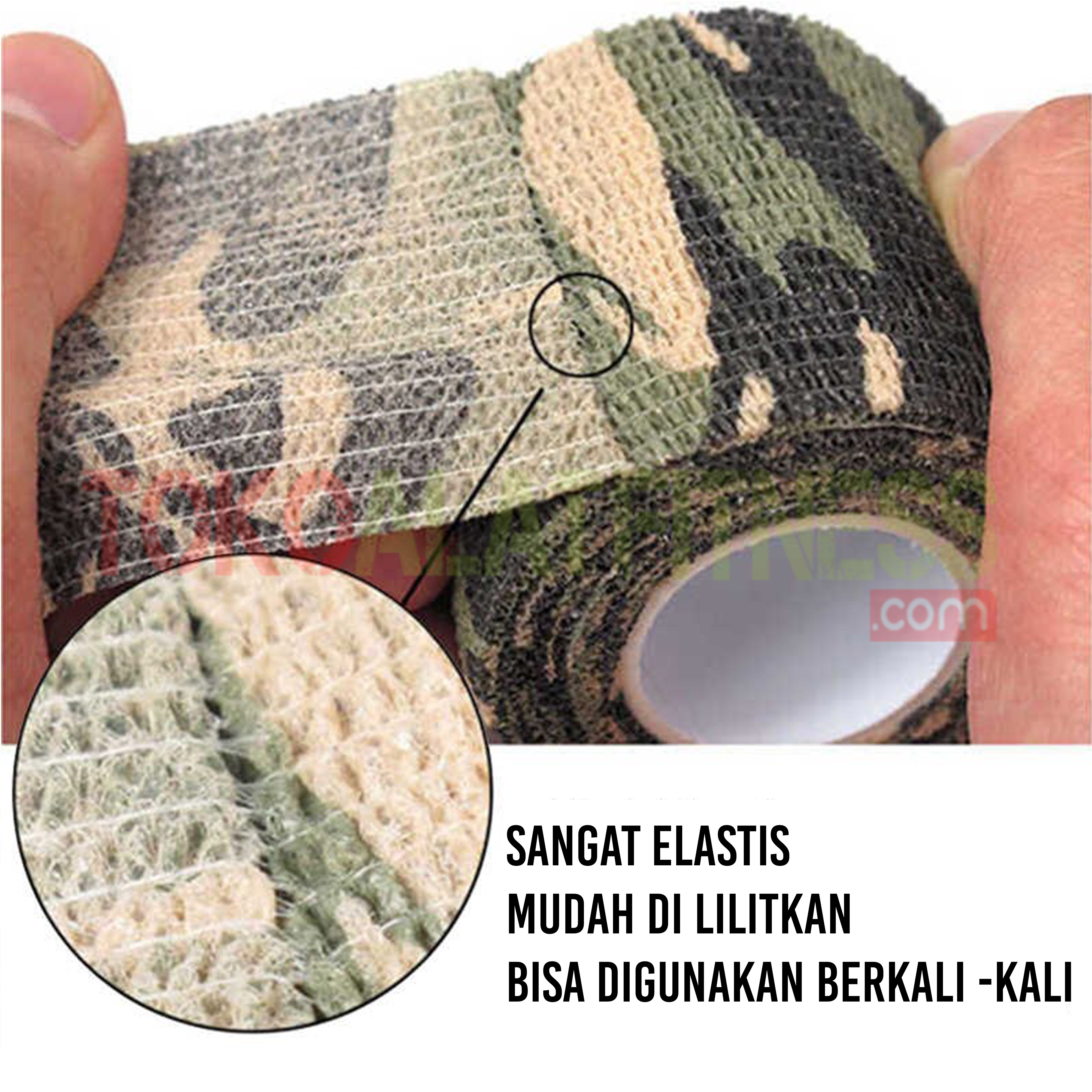 detail Camo tape - Roll Cotton Elastic Tape Grey Army Body Gym